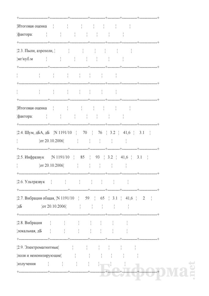 Пример заполнения карты аттестации рабочего места по условиям труда. Страница 3