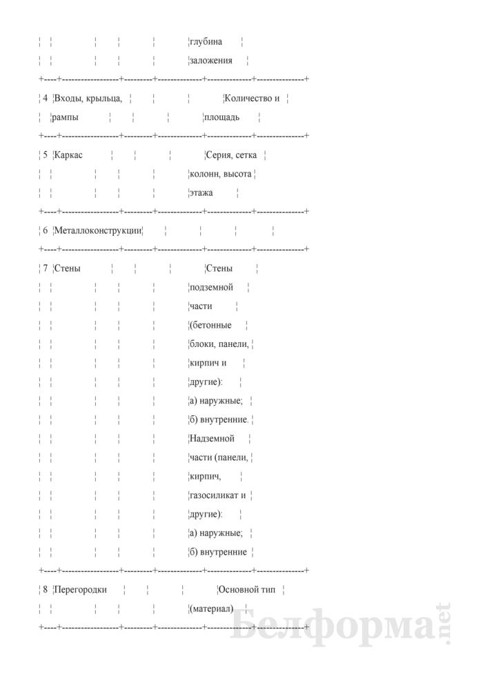 """Форма карточки № 1в исходных данных для определения стоимости строительства жилых зданий (жилой части здания) на стадиях """"А"""" и """"АС"""". Страница 5"""