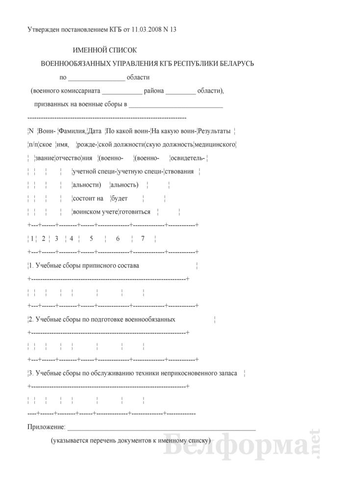Именной список военнообязанных управления КГБ Республики Беларусь (призванных на военные сборы). Страница 1