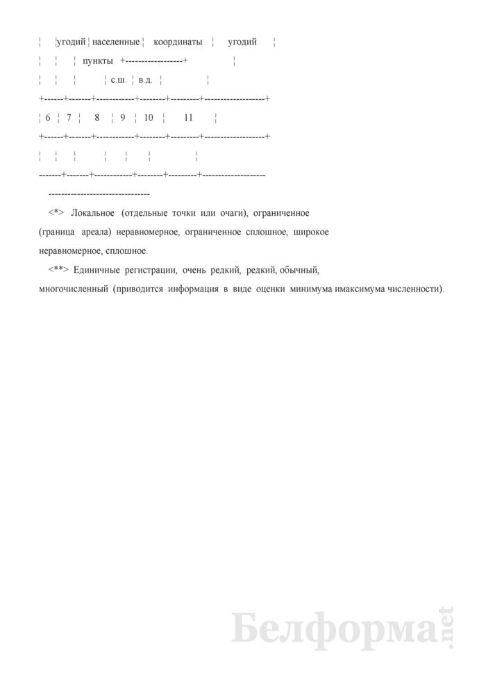 Кадастровая книга диких животных, относящихся к видам, включенным в Красную книгу Республики Беларусь. Страница 2