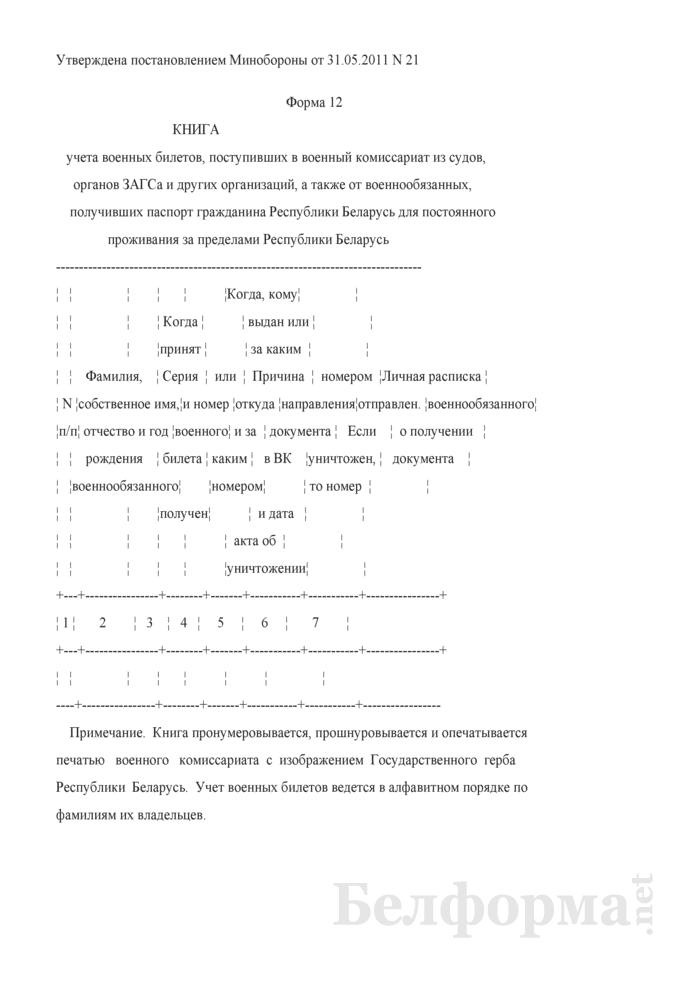 Книга учета военных билетов, поступивших в военный комиссариат из судов, органов ЗАГСа и других организаций, а также от военнообязанных, получивших паспорт гражданина Республики Беларусь для постоянного проживания за пределами Республики Беларусь. Страница 1