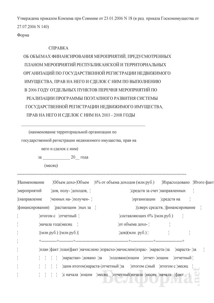 Справка об объемах финансирования мероприятий, предусмотренных планом мероприятий республиканской и территориальных организаций по государственной регистрации недвижимого имущества, прав на него и сделок с ним по выполнению в 2006 году отдельных пунктов перечня мероприятий по реализации программы поэтапного развития системы государственной регистрации недвижимого имущества, прав на него и сделок с ним на 2003 - 2008 годы. Страница 1