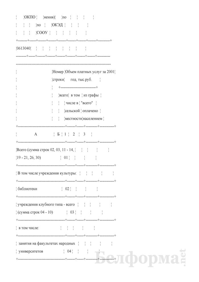 Отчет по оказанию платных услуг учреждениями культуры. Форма 1-услуги (культура). Страница 3