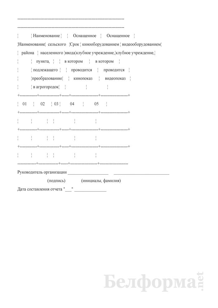 Сведения о киновидеообслуживании в агрогородках (квартальная). Страница 2