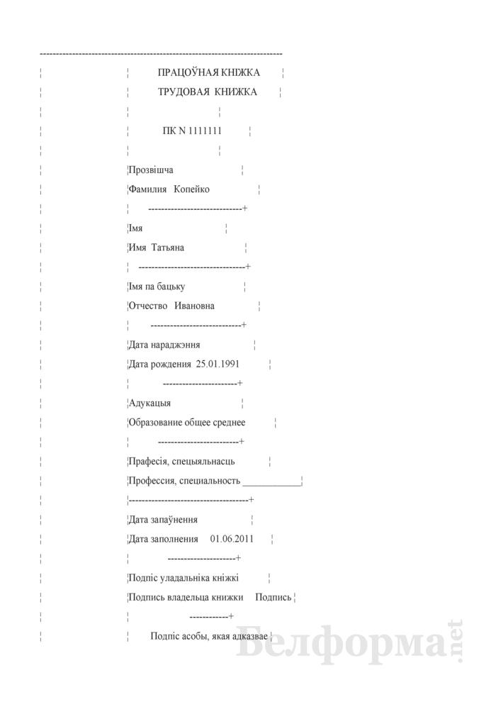 Титульный лист и разворот трудовой книжки (Образец заполнения). Страница 1