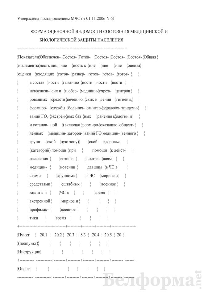 Форма оценочной ведомости состояния медицинской и биологической защиты населения. Страница 1