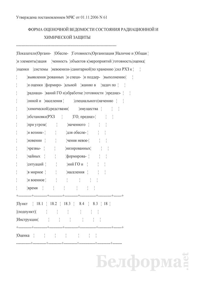 Форма оценочной ведомости состояния радиационной и химической защиты. Страница 1