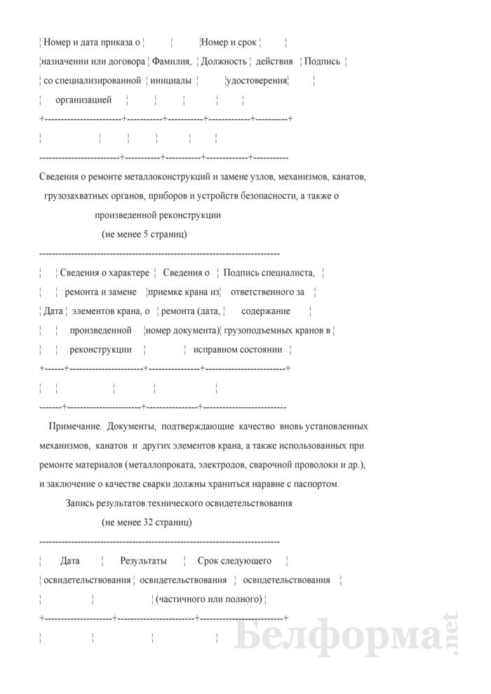 Форма паспорта стреловых самоходных кранов. Страница 22