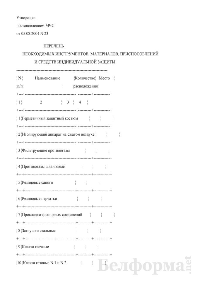 Перечень необходимых инструментов, материалов, приспособлений и средств индивидуальной защиты. Страница 1