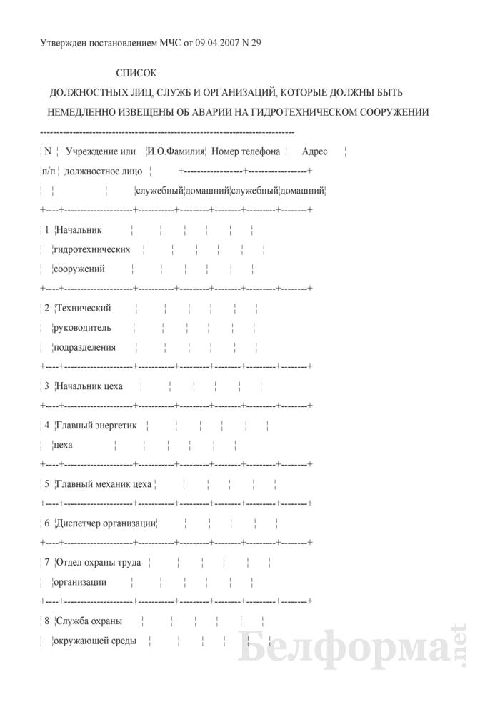 Список должностных лиц, служб и организаций, которые должны быть немедленно извещены об аварии на гидротехническом сооружении. Страница 1