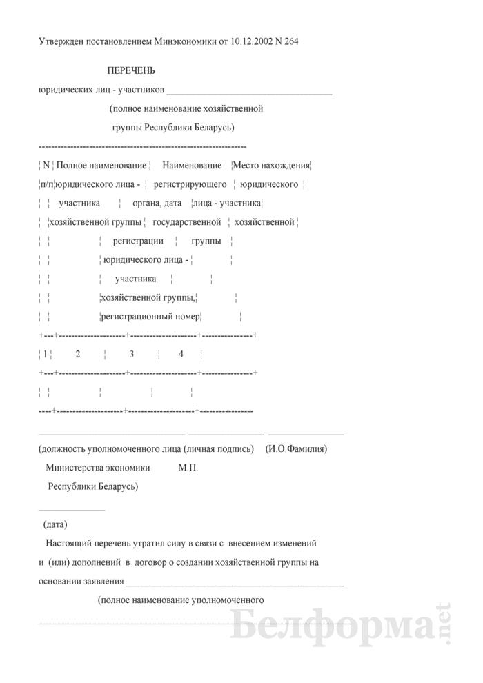 Перечень юридических лиц - участников хозяйственной группы Республики Беларусь. Страница 1