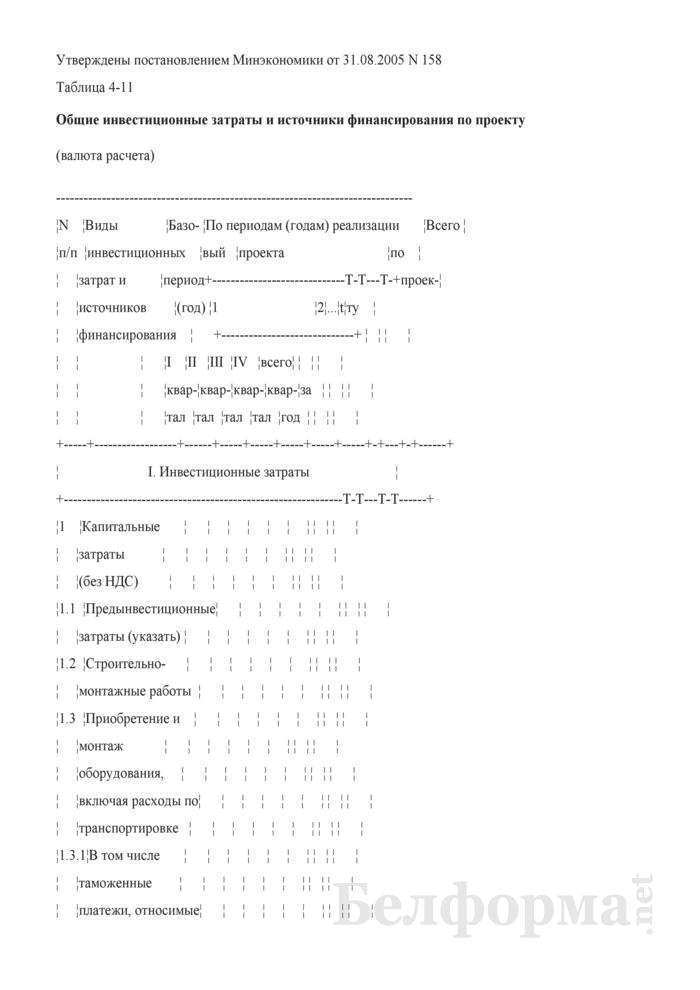 Таблица общих инвестиционных затрат и источников финансирования по проекту (при разработке бизнес-планов инвестиционных проектов). Страница 1