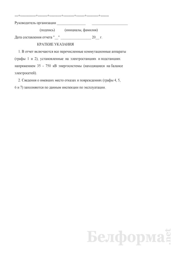 Отчет о наличии коммутационных аппаратов, установленных на электростанциях и подстанциях. Форма № 6-энерго (годовая). Страница 5