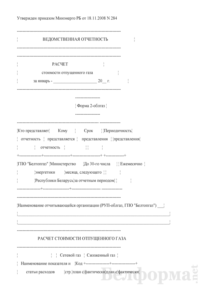 Расчет стоимости отпущенного газа. Форма № 2-облгаз (ежемесячная). Страница 1