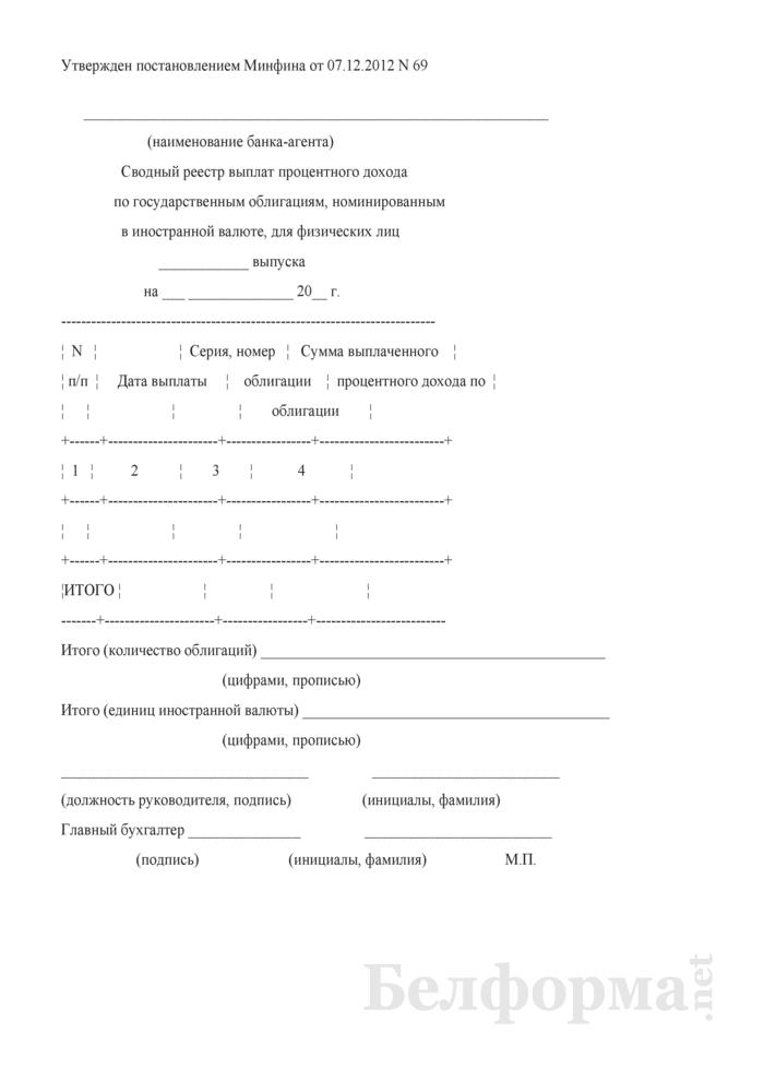 Сводный реестр выплат процентного дохода по государственным облигациям, номинированным в иностранной валюте, для физических лиц. Страница 1