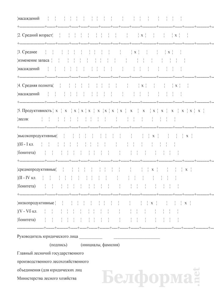 Форма 8К. Сведения о средних таксационных показателях и продуктивности лесов. Страница 6
