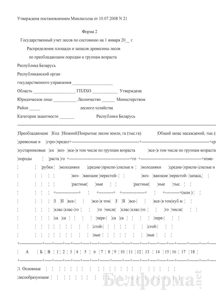 Распределение площади и запасов древесины лесов по преобладающим породам и группам возраста (Форма 2). Страница 1