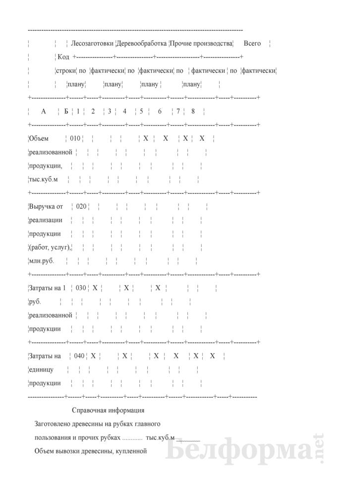 Сведения о себестоимости реализованной продукции (работ, услуг) по лесоэксплуатации. Страница 2