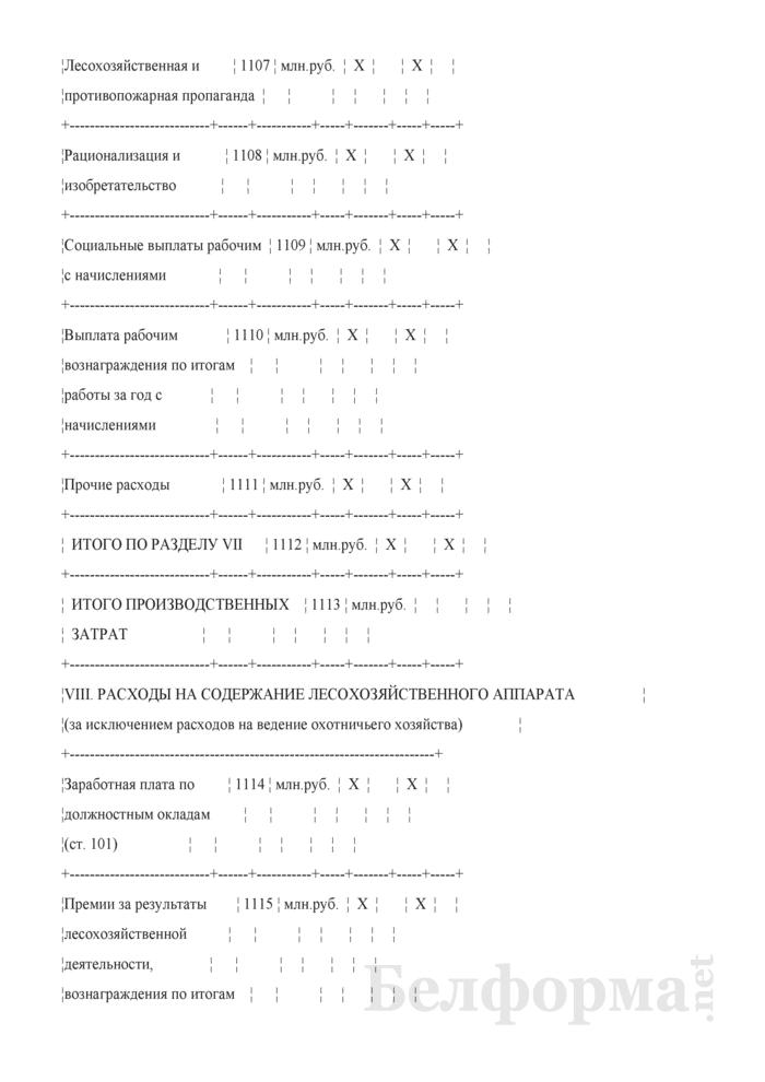 Сведения о выполнении производственного плана по лесному хозяйству. Страница 11