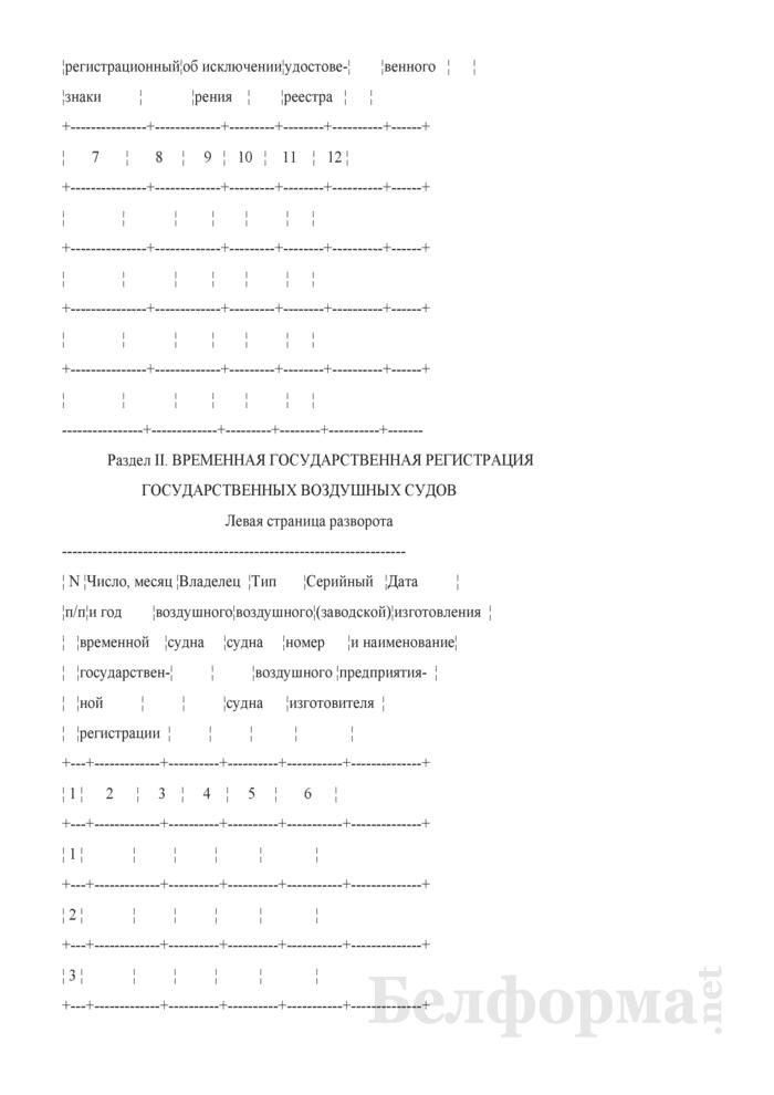 Форма Государственного реестра государственных воздушных судов Республики Беларусь. Страница 2