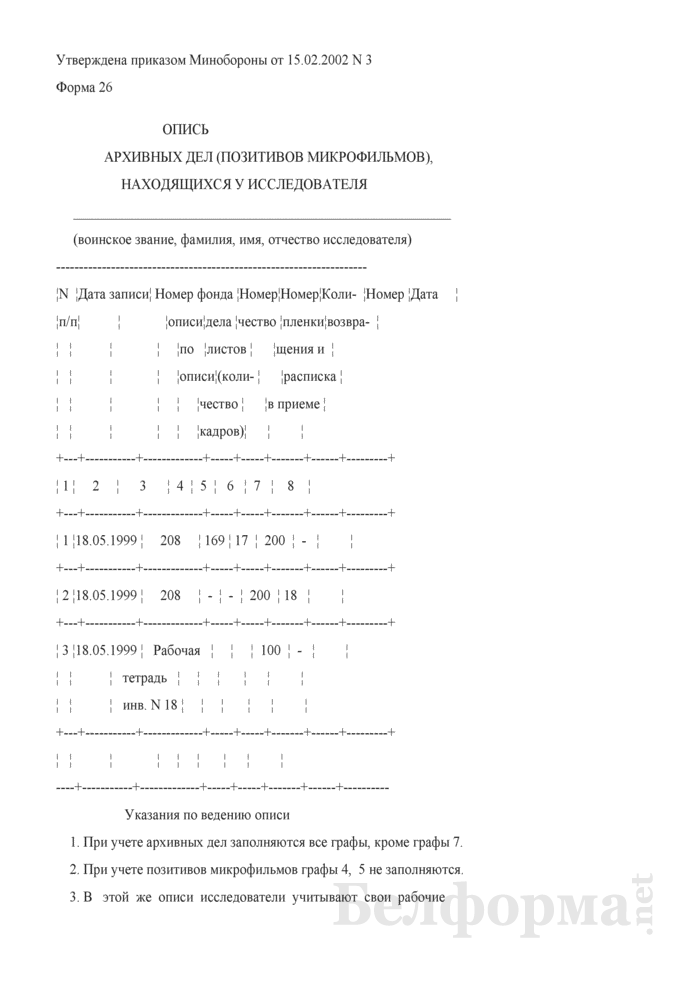 Опись архивных дел (позитивов микрофильмов), находящихся у исследователя. Форма № 26. Страница 1