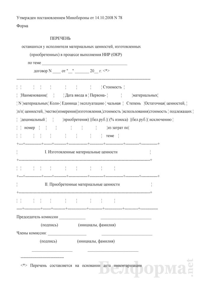 Перечень оставшихся у исполнителя материальных ценностей, изготовленных (приобретенных) в процессе выполнения НИР (ОКР). Страница 1