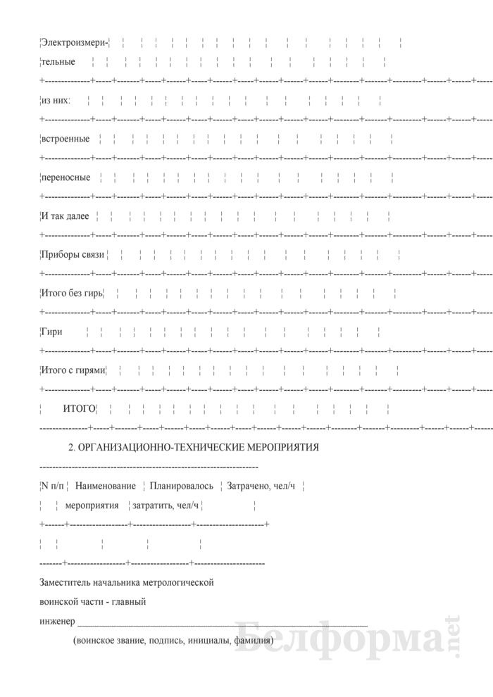План-отчет метрологической воинской части, подразделения. Страница 2