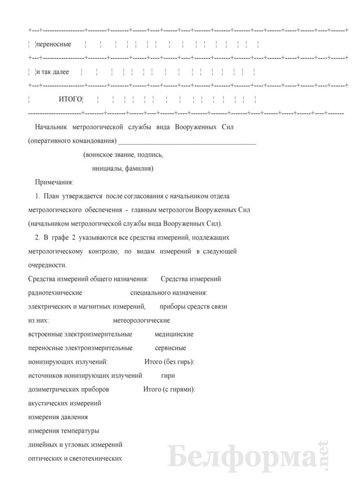 План метрологического обслуживания средств измерений, представляемый на утверждение Заместителю командующего видом Вооруженных Сил (войсками оперативного командования) по вооружению - начальнику управления. Страница 2