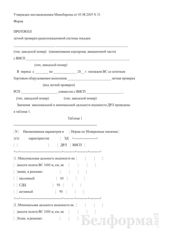 Протокол летной проверки радиолокационной системы посадки с ВИСП. Страница 1