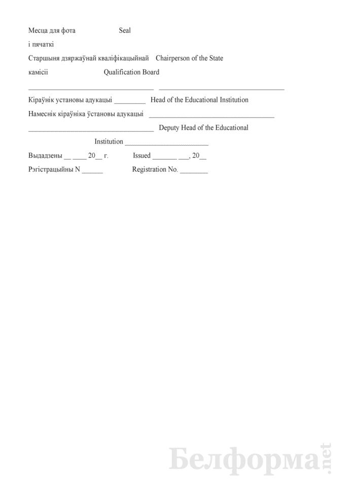 Образец диплома о профессионально-техническом образовании (для иностранных граждан на английском языке). Страница 2