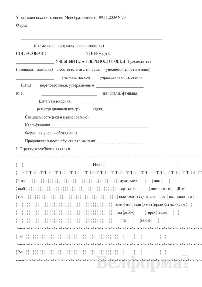 Учебный план переподготовки. Страница 1