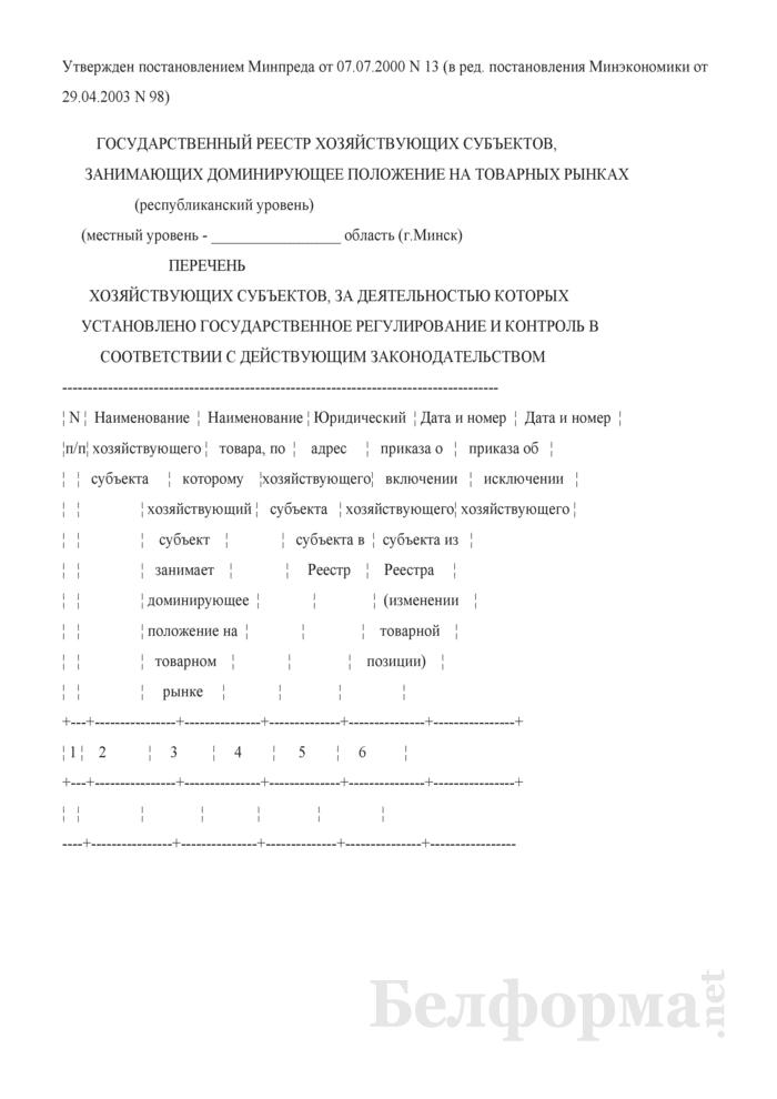 Перечень хозяйствующих субъектов, за деятельностью которых установлено государственное регулирование и контроль в соответствии с действующим законодательством. Страница 1
