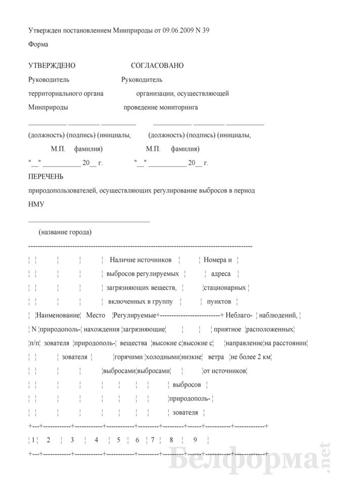 Перечень природопользователей, осуществляющих регулирование выбросов в период НМУ. Страница 1