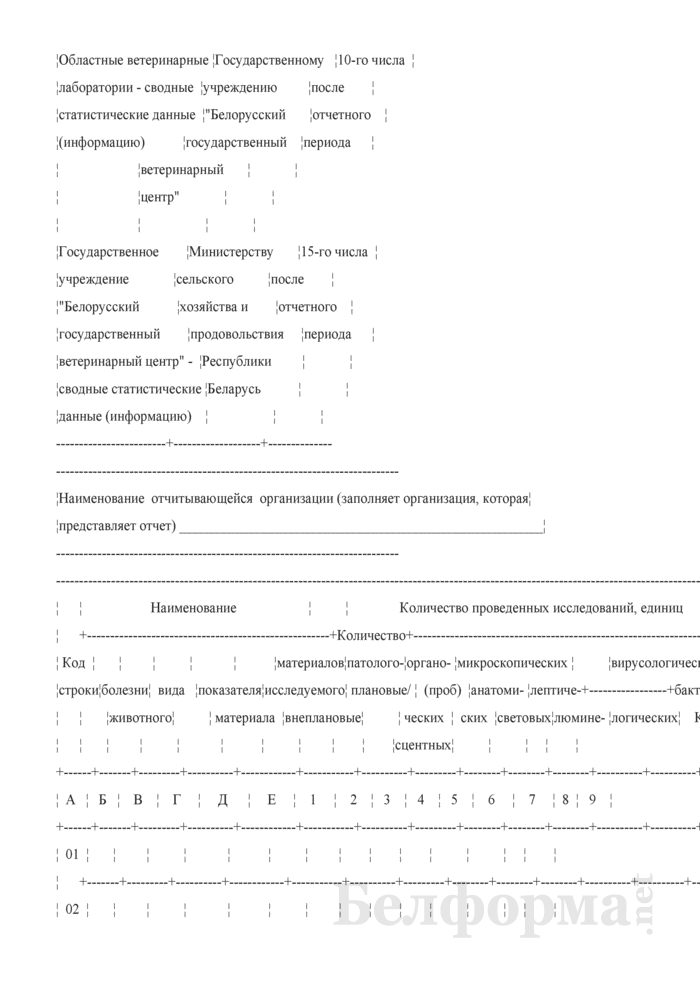 Отчет о работе ветеринарных лабораторий (Форма 1-вет лаборатории (полугодовая)). Страница 2