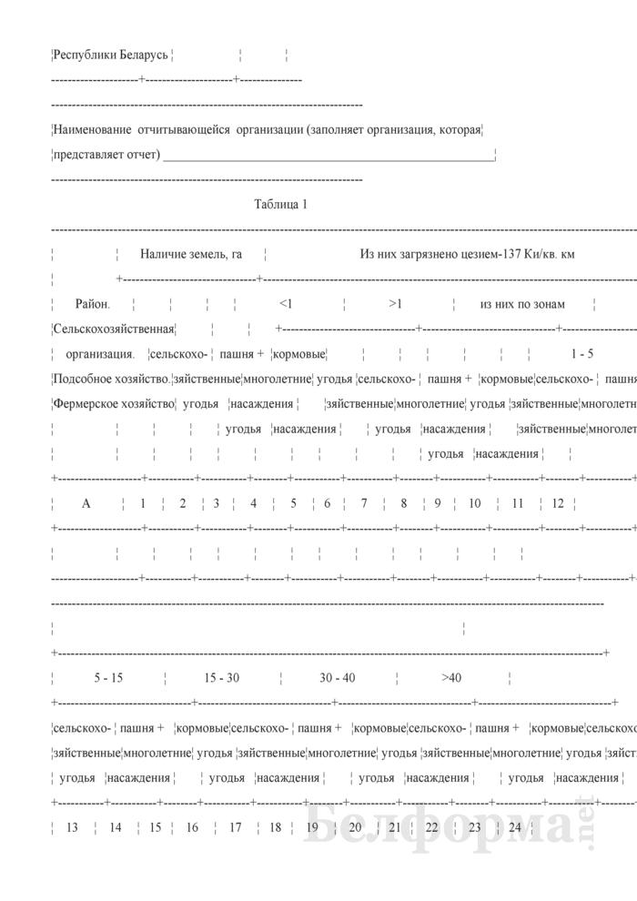 Отчет о загрязнении сельскохозяйственных угодий радионуклидами цезий-137 и стронций-90 (Форма 4 рк сх (ежегодно)). Страница 2