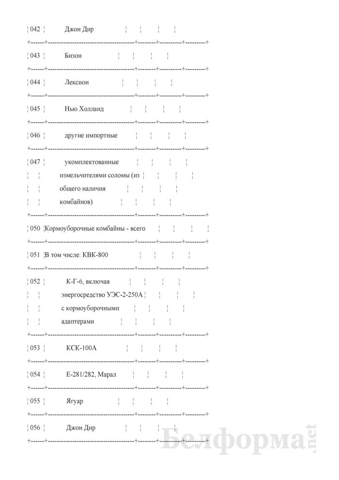 Сведения о готовности машинно-тракторного парка в сельскохозяйственных организациях и механизированных отрядах, созданных при организациях, обслуживающих сельское хозяйство (ежемесячно). Страница 4