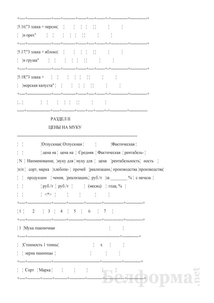Сведения об отпускных ценах на крупу, пшеничную и ржаную муку и комбикорма (Форма 11-ФО (месячная)). Страница 6
