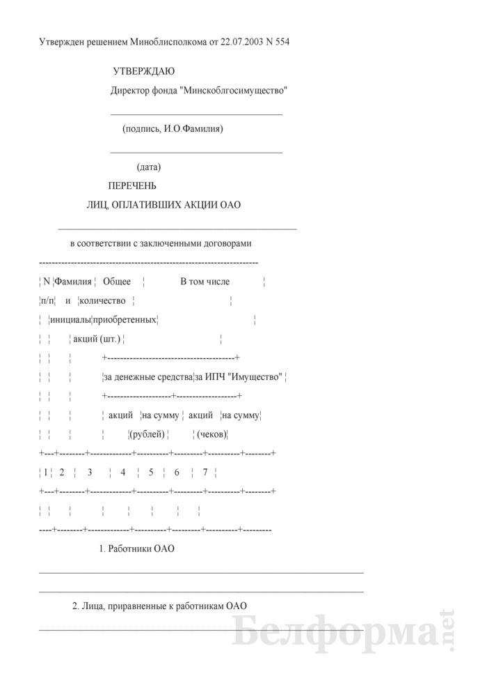 Перечень лиц, оплативших акции ОАО. Страница 1