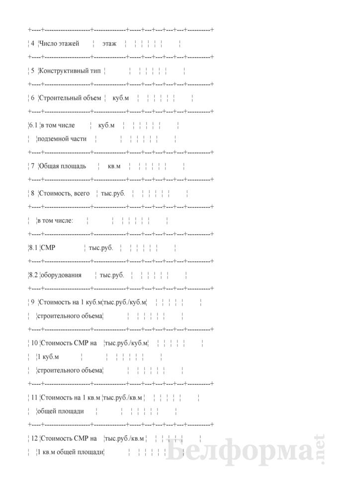 """Форма таблицы № 1 технико-экономических показателей по проектируемому объекту для общественных зданий на стадии """"ОИ"""". Страница 2"""