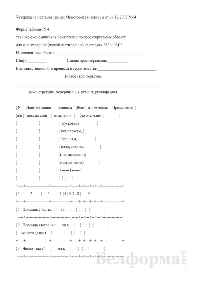 """Форма таблицы № 4 технико-экономических показателей по проектируемому объекту для жилых зданий (жилой части здания) на стадиях """"А"""" и """"АС"""". Страница 1"""