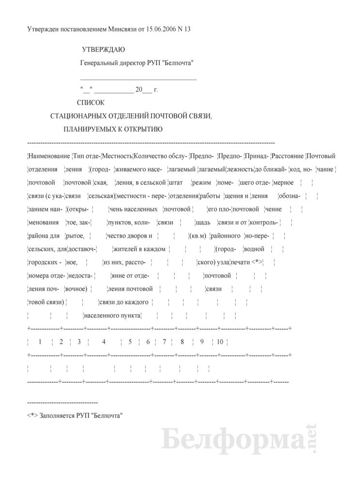 Список стационарных отделений почтовой связи, планируемых к открытию. Страница 1