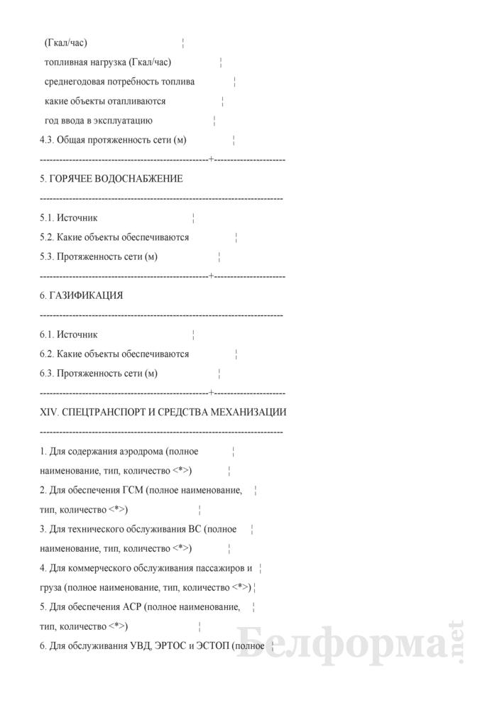 Форма технического паспорта аэродрома. Страница 14