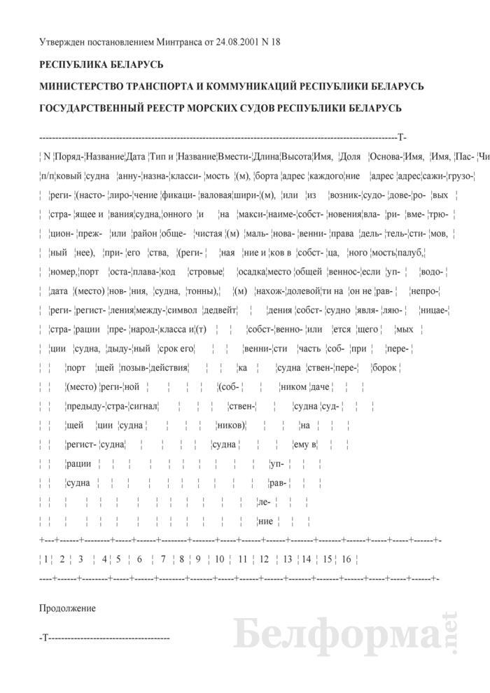 Государственный реестр морских судов Республики Беларусь. Страница 1