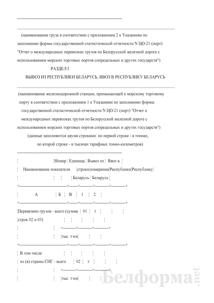 Отчет о международных перевозках грузов по Белорусской железной дороге с использованием морских торговых портов сопредельных и других государств (Форма № ЦО-21 (порт) (годовая)). Страница 2