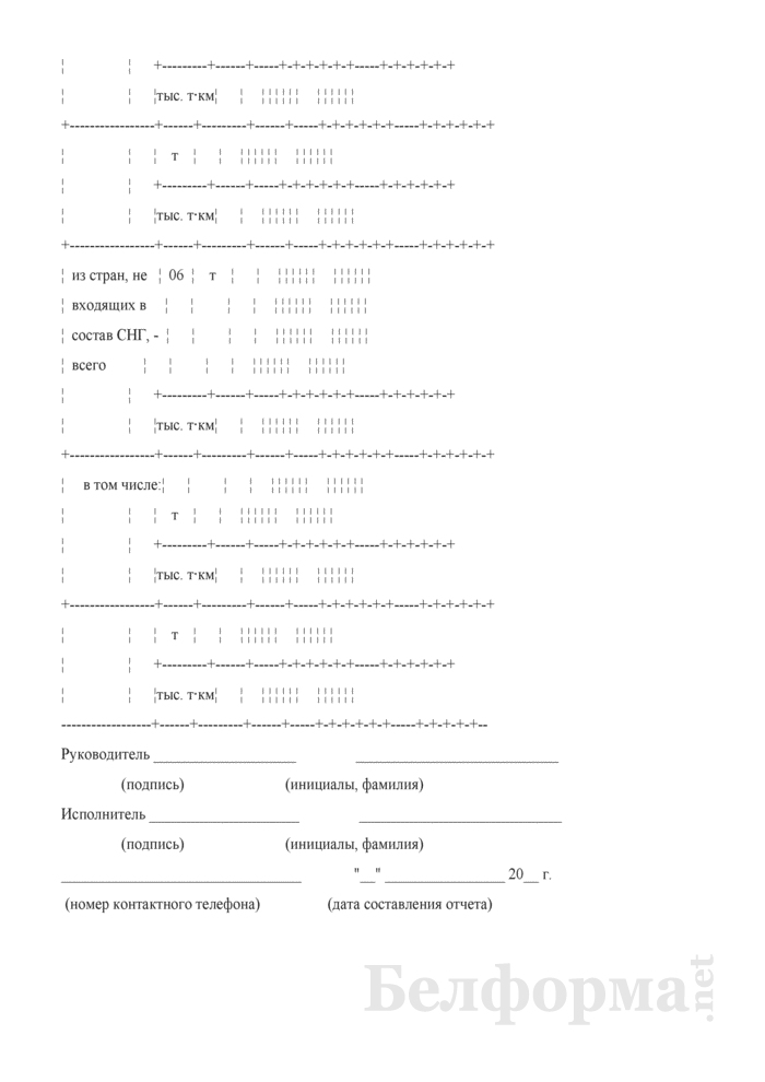 Отчет о международных перевозках грузов по Белорусской железной дороге с использованием морских торговых портов сопредельных и других государств (Форма № ЦО-21 (порт) (годовая)). Страница 5