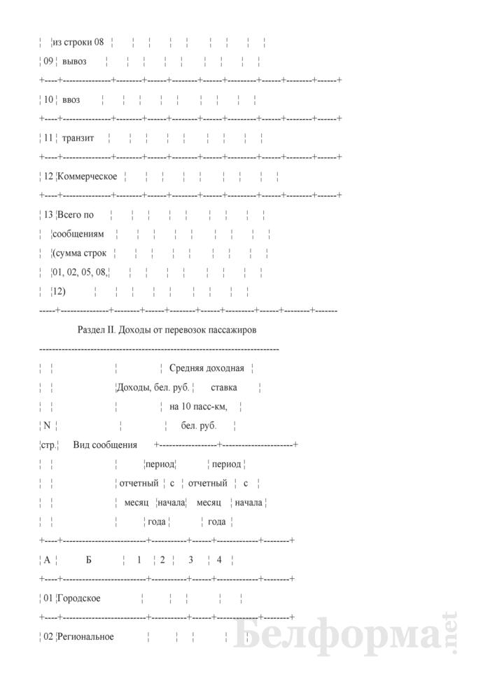 Отчет о перевозках пассажиров по Белорусской железной дороге и доходных поступлениях от этих перевозок (Форма № ЦО-22 (месячная)). Страница 3