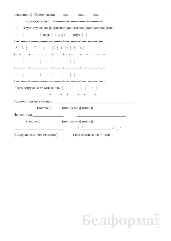 Отчет о погрузке по номенклатурным группам грузов по станциям Белорусской железной дороги (Форма № ГО-10 (месячная)). Страница 2