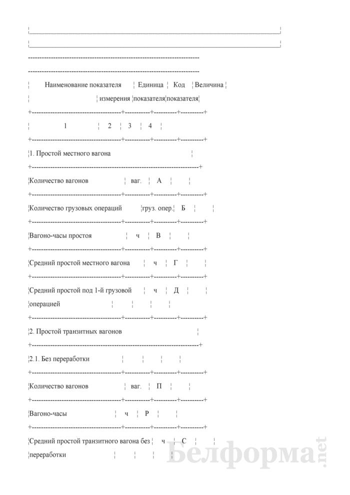 Отчет о простое грузовых вагонов на отделении Белорусской железной дороги (Форма № ДО-6 (месячная)). Страница 2
