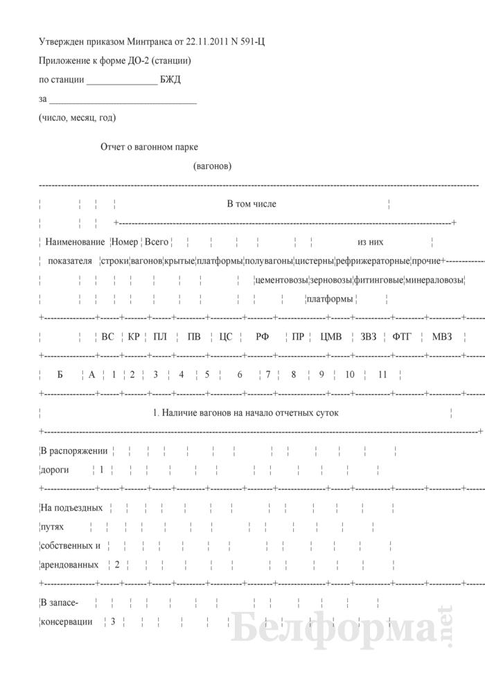 Отчет о вагонном парке. Страница 1