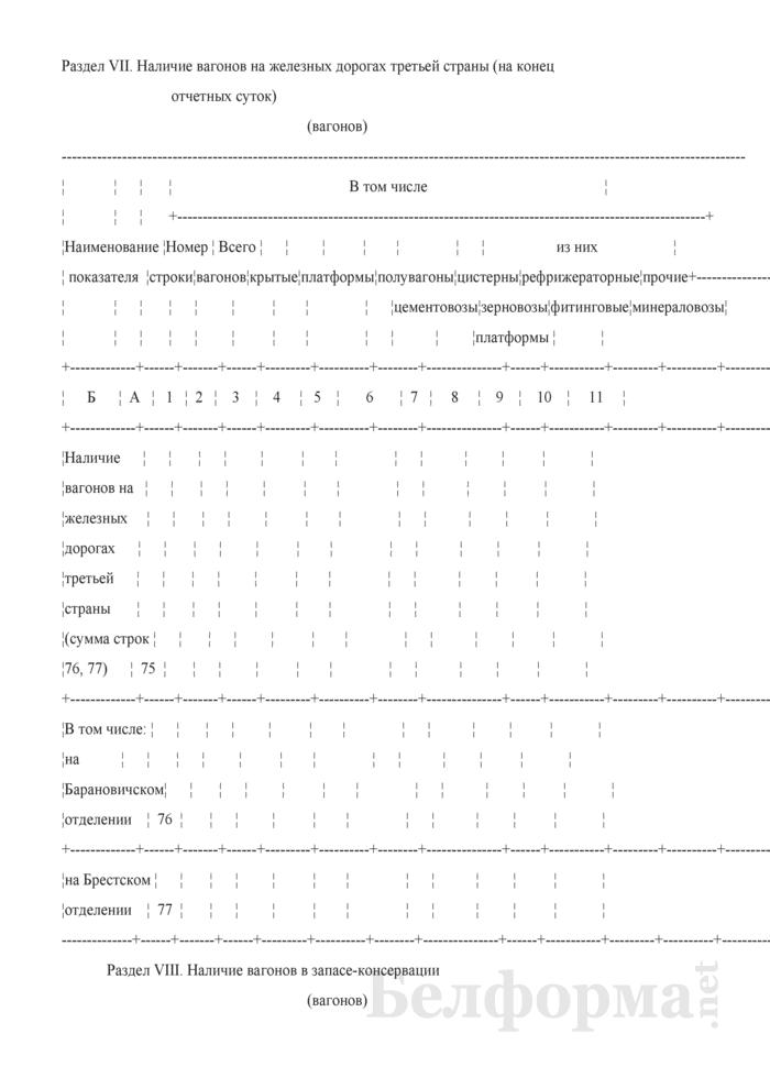 Отчет о вагонном парке (Форма № ДО-2 (суточная)). Страница 14